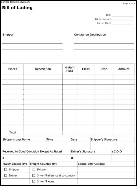 Bill Of Lading Template Bol Template Exle Mughals