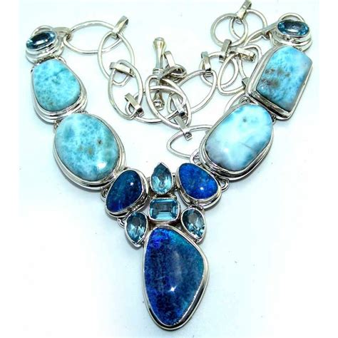 blue opal rings destiny sterling silver larimar necklace 925 sterling