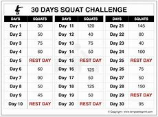 Squat Challenge 30 Day Printable Chart for Beginners