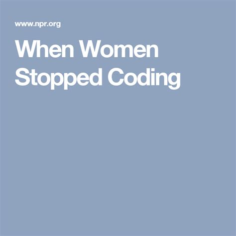When Women Stopped Coding