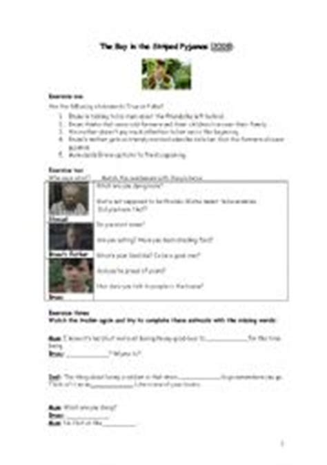 worksheets the boy in the striped pyjamas
