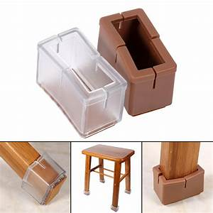 8x table chair stick leg feet rectangle cap cover for Plastic furniture leg covers