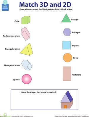 2d and 3d shapes worksheet education