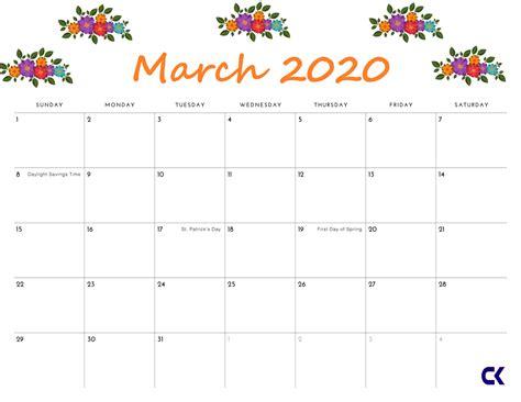 printable march  calendar calendarkart