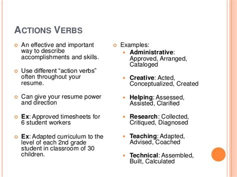Verb Resume Definition by 100 Resume Exles Verbs For Food Service
