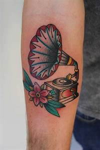 Gramophone and flower tattoo - TattooMagz