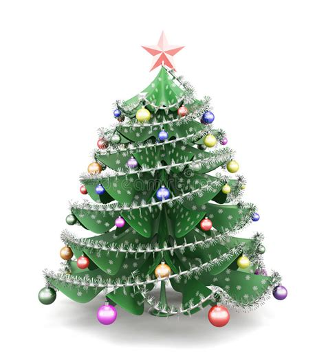 3d paper christmas tree with ribbon decorated paper tree 3d stock illustration image 60984222