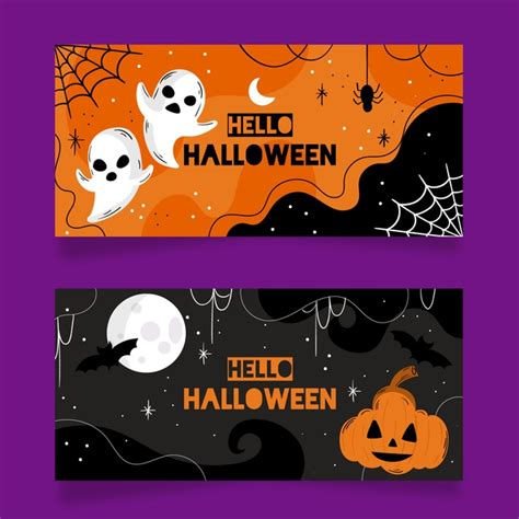 Download 44,000+ royalty free halloween banner vector images. Flat design halloween banners template | Free Vector
