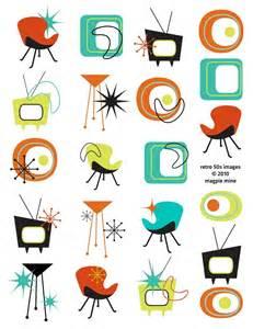 retro design mid century designs retro collage sheet 1950s 1960s