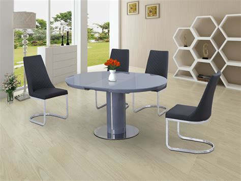 round extending dining table sets eclipse round oval gloss glass extending 110 to 145 cm