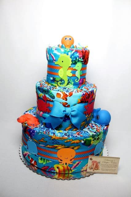 sea baby diaper cake shower centerpiece