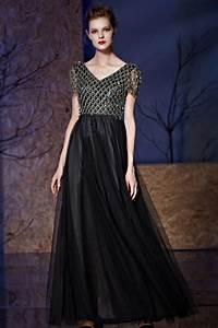 Haut Habillé Pour Soirée : robe noire de soir e haut en cailles col v mancheron jupe en tulle ~ Melissatoandfro.com Idées de Décoration