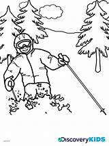 Coloring Skiing Pages Ski Lift Discovery Template Print Templates Popular sketch template