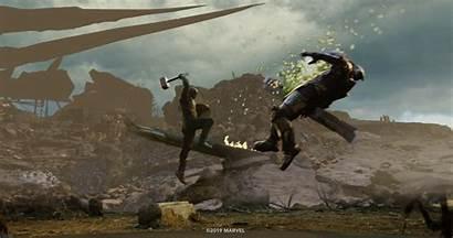 Thanos Captain America Mjolnir Endgame Avengers Fight