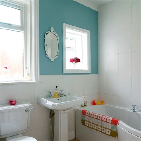 Colorful Bathroom Ideas by Compact Bathroom With Colourful Feature Wall Small