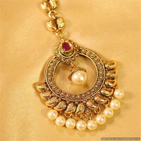 buy antique ruby pearl maang tikka online