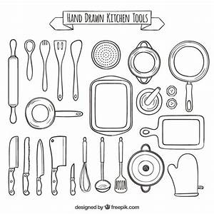 Hand drawn collection of kitchen tools Vector | Free Download