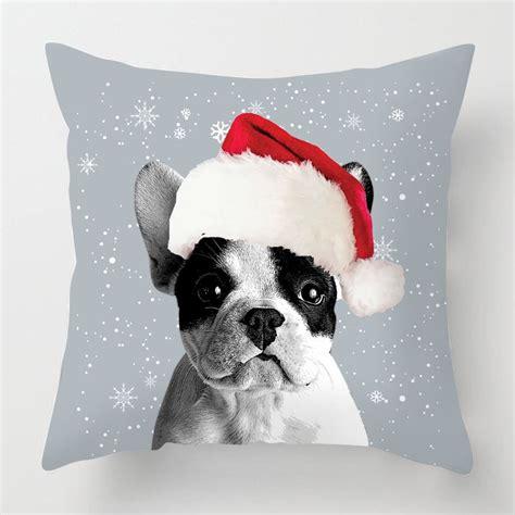 christmas french bulldog cushion   red background