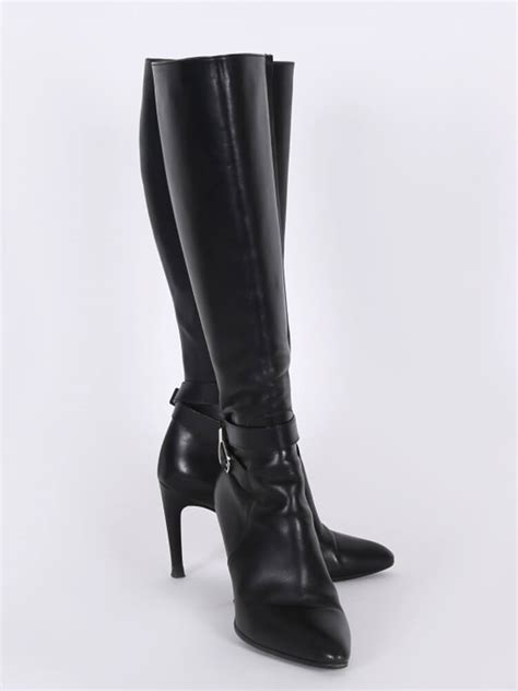 louis vuitton aparte leather heel high boots black  luxury bags