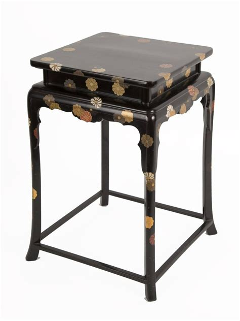 japanese black lacquered cocktail table  chrysanthemum