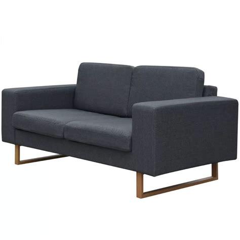canapé gris foncé la boutique en ligne vidaxl canapé avec 2 places tissu