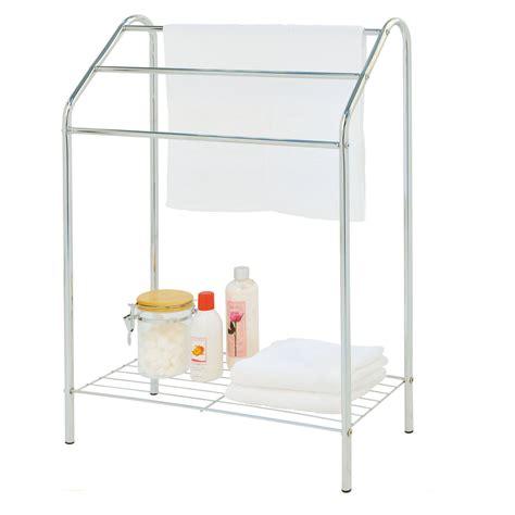 3 tier towel rail chrome drying bathroom floor stand shelf