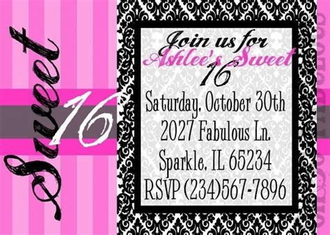 sixteen birthday invitations