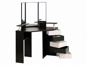 Coiffeuse Meuble Noir : coiffeuse d 39 angle marilyn miroir et rangements blanc noir ~ Farleysfitness.com Idées de Décoration