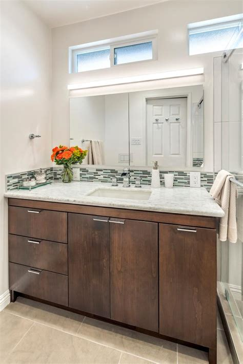 contemporary bathroom vanity  wood cabinets thin tile