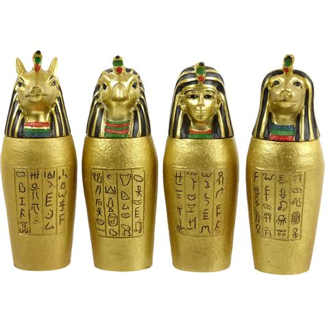 valentines day gift set of 4 gold canopic jars ancient
