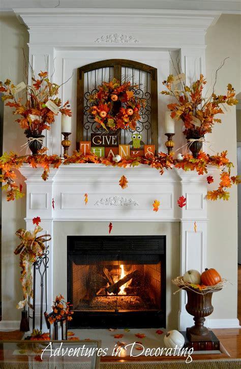 adventures  decorating  fall mantel