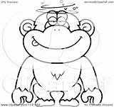 Drunk Dumb Chimpanzee Cartoon Coloring Clipart Vector Outlined Thoman Cory Clip Regarding Notes Clipartof sketch template