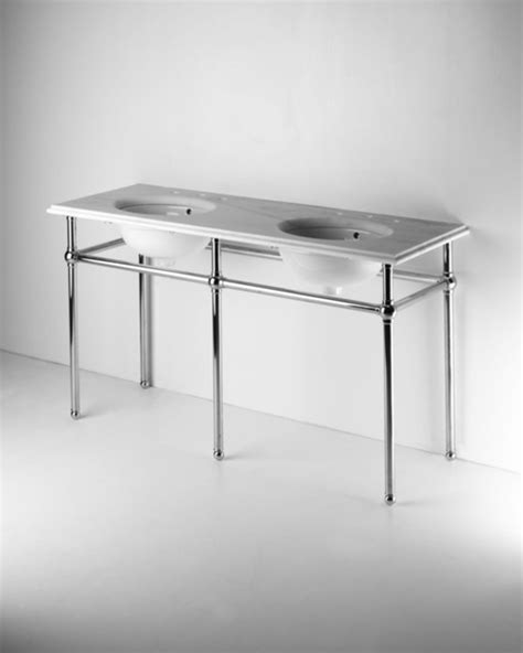 metal   leg double washstand  marble top