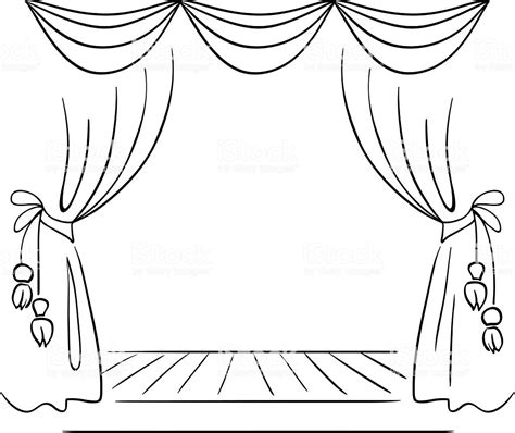 stage clipart black and white theater stage vector sketch stock vector more images