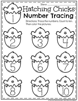 easter worksheets planning playtime 840 | Easter preschool Worksheets Hatching Chick Number Tracing