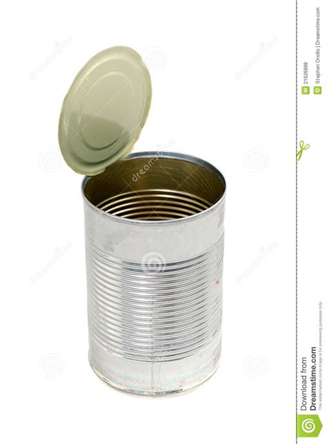empty metal food  stock photo image  canister