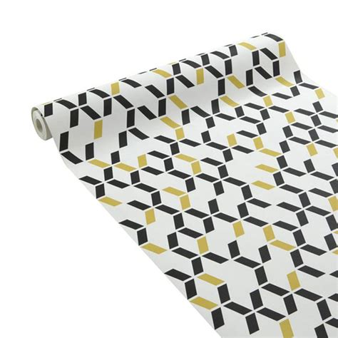 papier peint duplex chromo noir jaune castorama pour