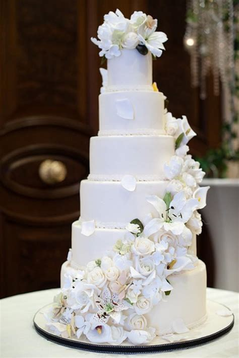 tier wedding cake  sugar flower cascade