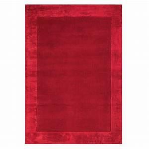 tapis moderne rouge en laine et viscose With tapis laine moderne
