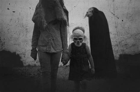 haunting dark photography featuring masks clowns