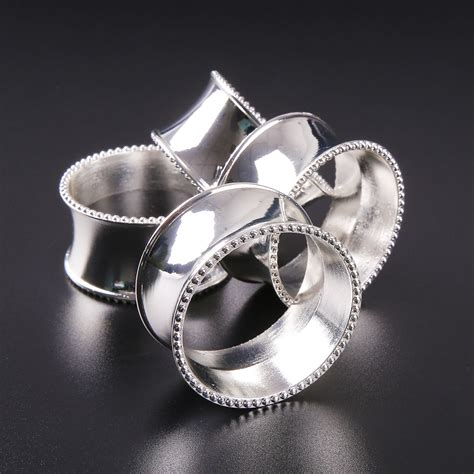 luxurious 4pcs bead edge napkin ring holder dinner wedding banquet decor ebay