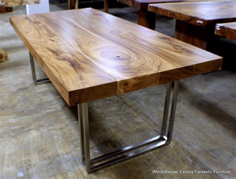 dining table solid acacia wood slab stainless steel