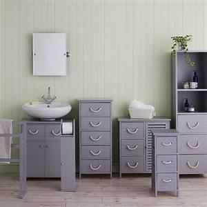 Estilo nautical grey nautical tallboy bathroom storage for Homebase bathroom storage units
