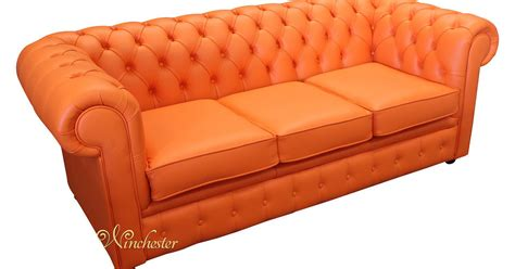 Chesterfield Settees by Chesterfield 3 Seater Settee Mandarin Orange