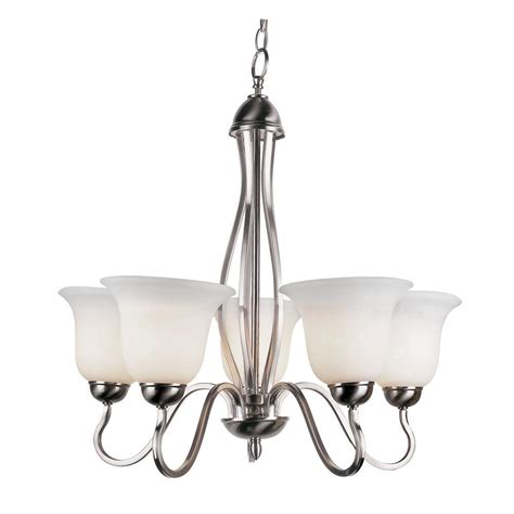 Glass Shades For Chandelier by Hton Bay Burbank 5 Light Brushed Nickel Chandelier With
