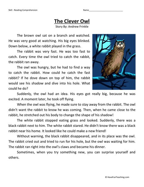 reading comprehension worksheet the clever owl