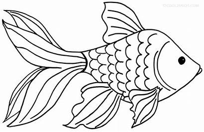 Goldfish Coloring Pages Fish Clipart Printable Drawing