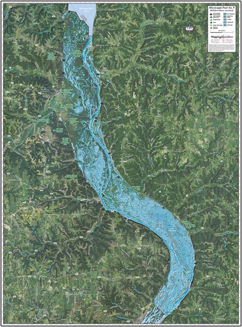 mississippi river pool  enhanced wall map