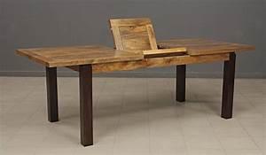 Table Bois Avec Rallonge : table repas rectangulaire bois exotique avec rallonge art ~ Teatrodelosmanantiales.com Idées de Décoration