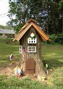 Tree stump turned Gnome home, Fairy Houses and fairy